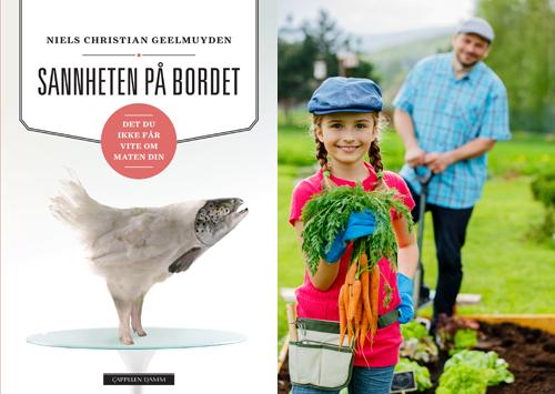 Kolasj med forside fra boken -sannheten på bordet og jente med grønsaker