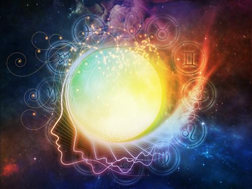astrolgi ansikt i universet med zodiak