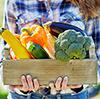 Trekasse   full av grønnsaker