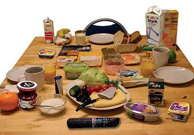 vanlige matvarer på et bord