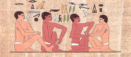 Egyptiske hieroglyfer viser behandling av hender og føtter
