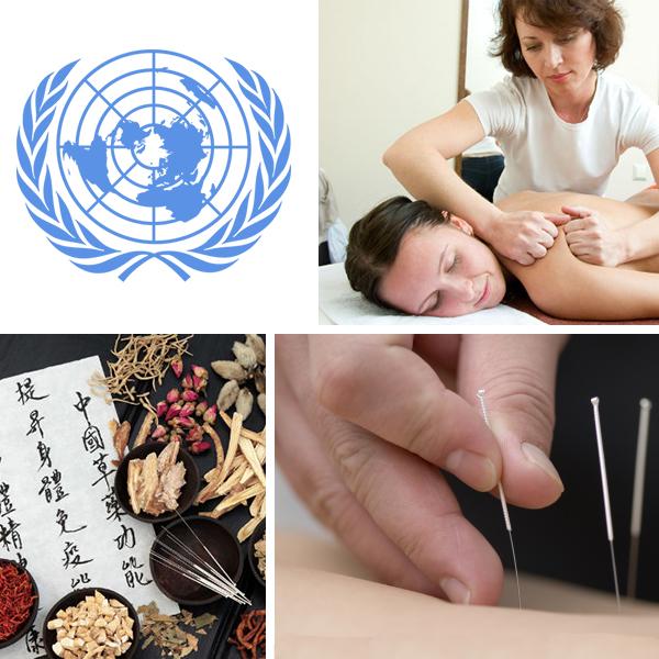 Kolasj med bilder som illusterer TKM og logo til FN
