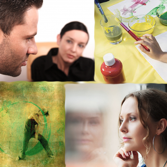 Kolasj illustrasjon psykoterapi